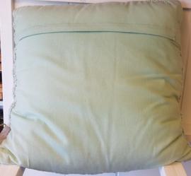 Mint groene katoenen gebreide kabel kussen 50 x 50 cm, incl. binnenkussen.