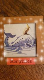 StoryTiles, delfsblauwe walvis met pelikaan. Limited Edition.