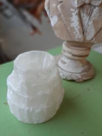 Seleniet Edelsteen Waxine licht houder 9 cm hoog x 4 cm doorsnee