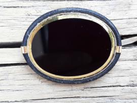 Langani Broche  Zwart glas Goud met zijde Vintage