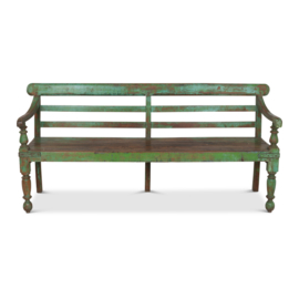 Groene houten vintage bank. 194 x 65 x 89 cm.