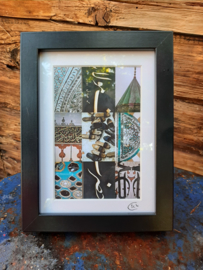 Foto juweeltjes By Cick. 9-luik  mini poster in zwart lijstje.  20 x 15 cm