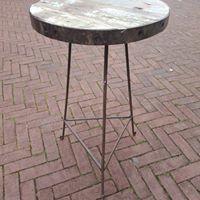 Vintage bijzettafeltje Rond Groen Hout en Smeedijzer Gert Snel
