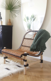 Rattan Lounge Chair Black Malagoon