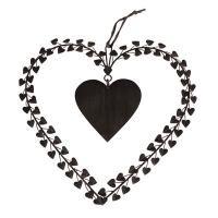 Zwart  zinken hart omringd door kleine hartjes, Braxton.