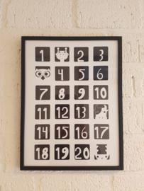 Zoedt poster zwart wit 30 x 40 cm in houten lijst.