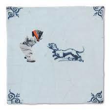 Story Tiles, Meisje met hondje , Delfst blauw