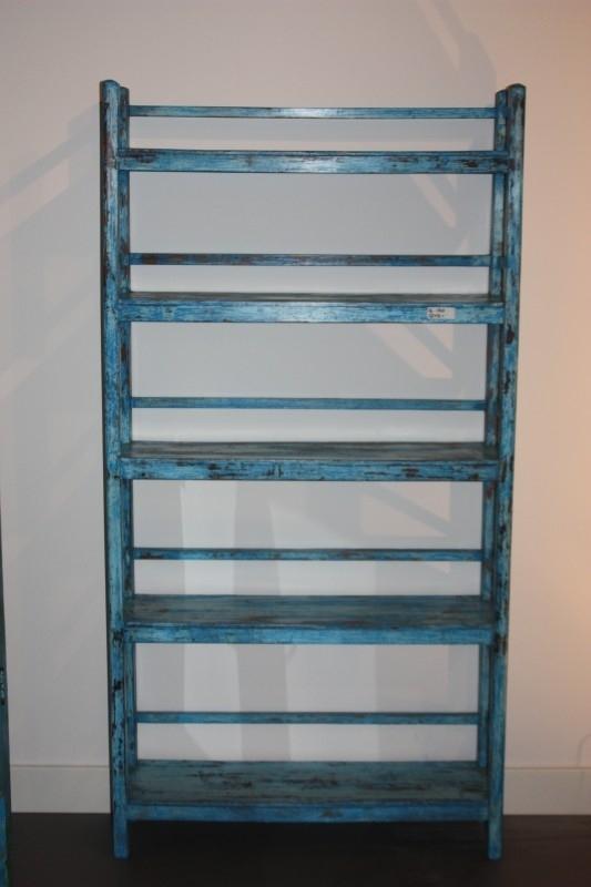 Boekenkast. Vintage uit India Kobaltblauw