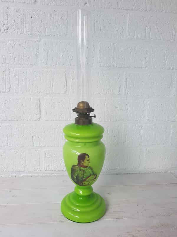 Napoleon glazen antieke olielamp ongeveer 1920