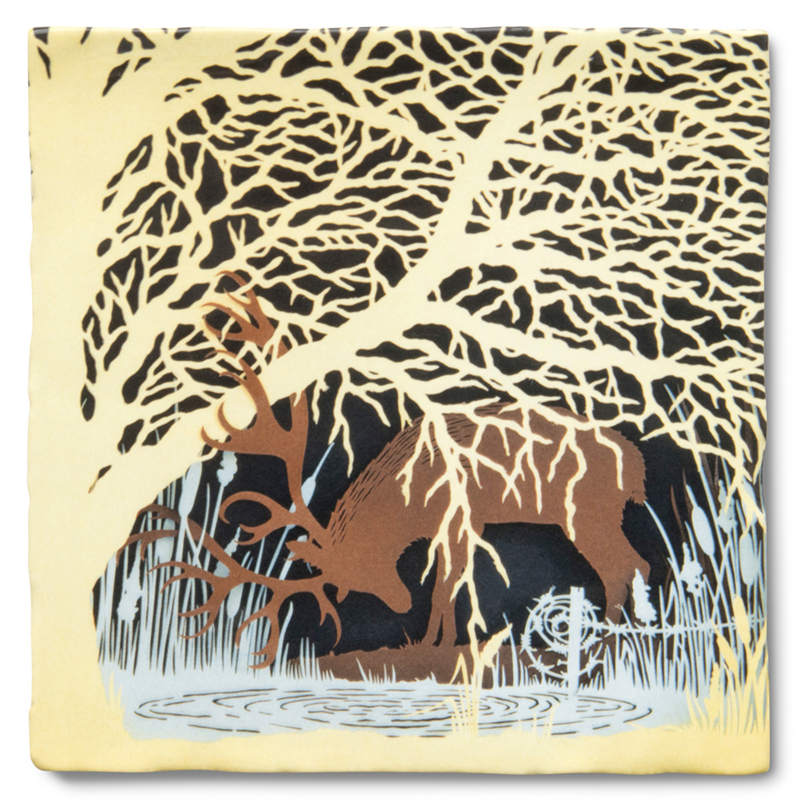 Deer at a spring, Story Tiles by Geertje Aalders. Limited Edition