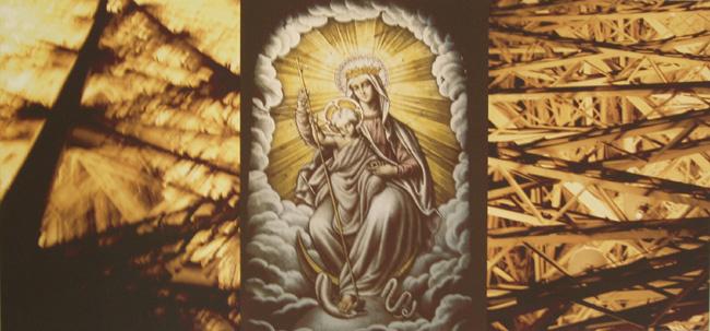 Moeder GODS  Maria 3 -luik op doek 96 cm x 45 cm