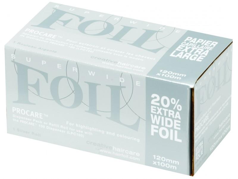 12 rollen Procare Premium folie, 100 m X 12 cm, 18 mu, zilver