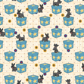 6911-84 Scottie Dog on Boxes Teal