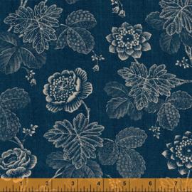 willow  52564-1   Stippled Floral Indigo