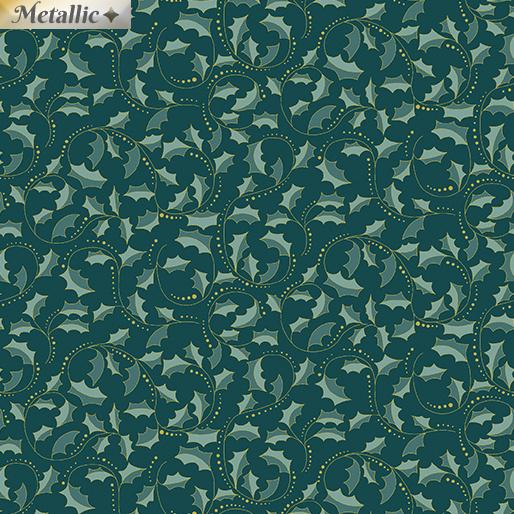 Festive Chickadees 2657M84 Golden Leaf Scroll dark teal