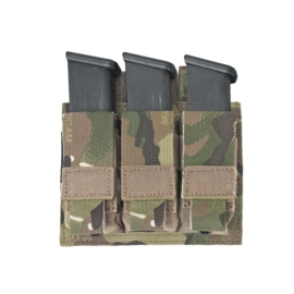 Warrior Elite Ops MOLLE Triple 9mm Direct Action Pistol Mag Pouch (MULTICAM)