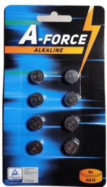 A-Force  AG13-LR44 1,5V Knoopcel Alkaline Battery - 8pcs