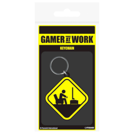 Gaming Danger Gamer at Work rubber keychain