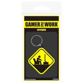 Gaming Danger Gamer at Work rubber keychain