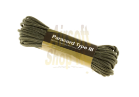 INVADER GEAR Paracord 550lb 50 feet - 15M (ARMY GREEN REFLECTIVE)