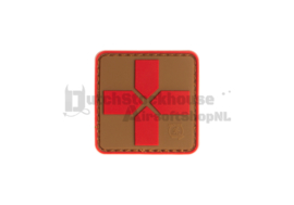 JTG Red Cross Rubber Patch 40mm - Coyote Red