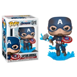 FUNKO POP figure Marvel Avengers Endgame Captain America with Broken Shield & Mjolnir (573)