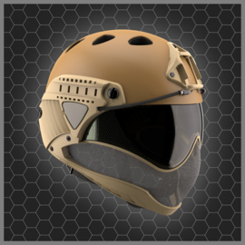 WARQ Full face Helmet - CLEAR Lens (TAN)