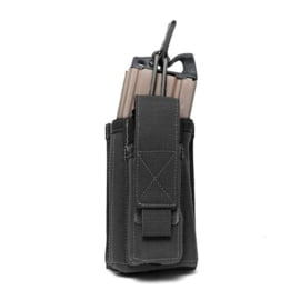 Warrior Elite Ops MOLLE Single Open 5.56mm Mag Pouch with 9mm D/S Pistol Mag (BLACK)