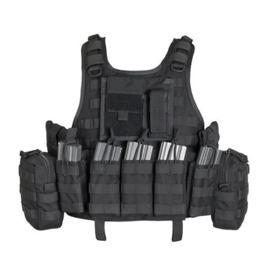 Warrior Elite Ops MOLLE RICAS COMPACT DA with 5 M4 Open Mags, 2 Utility, 1 Admin (BLACK)