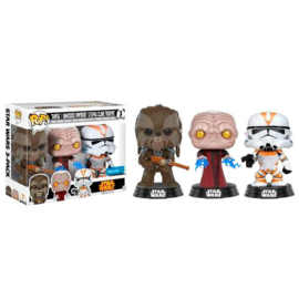 FUNKO POP 3 pack figures Star Wars Tarfful, Unhooded Emperor & Utapau Clone 2017 Fall Convention - Exclusive