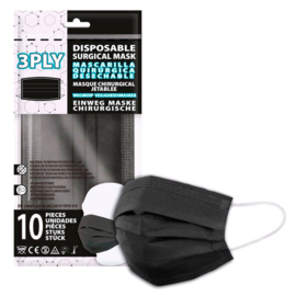 Black pack 10 disposable surgical masks