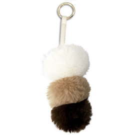 Brown Pompom plush keychain