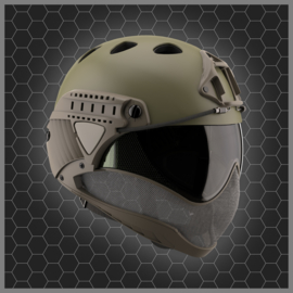 WARQ Full face Helmet - CLEAR Lens (OD GREEN)