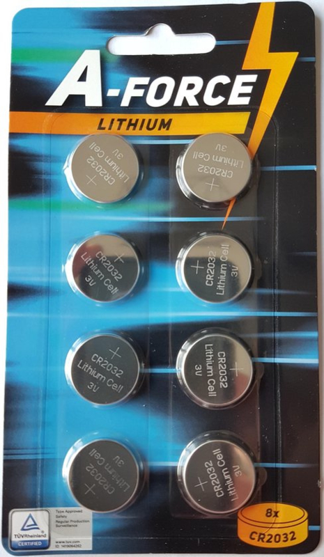 A-Force CR2032  3V Knoopcel Lithium Battery - 8pcs