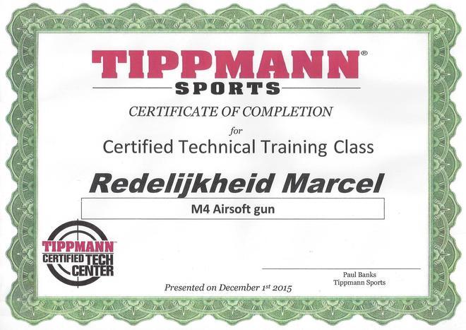 Tippmann Certificate Marcel