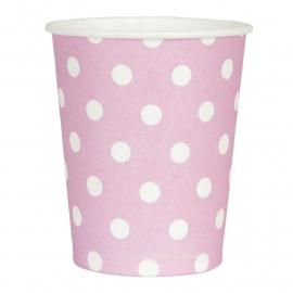 papieren bekers roze met witte stippen