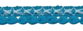 mini pompom band petrol/licht blauw