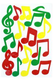 raamstickers | muzieknoten rood/geel/groen