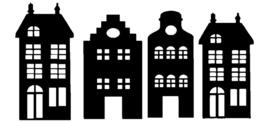 Raamstickers | huisjes  zwart
