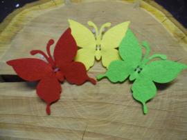 vilten vlinders rood/geel/groen