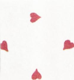 vilt wit met rode hartjes