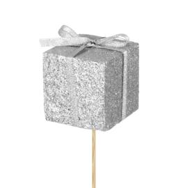 glitter kadootje zilver
