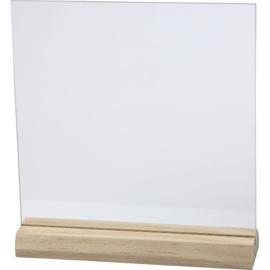 glazen plaat op houten voet