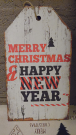 tekstbord : merry christmas happy new year