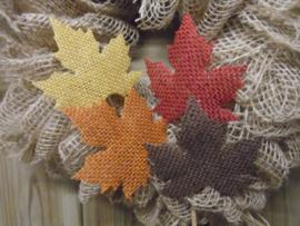 4 jute herfstbladeren op stok