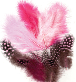 marabou/parelhoen veertjes mix rose