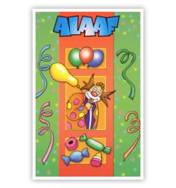 kaart clown ballonnen/snoepjes