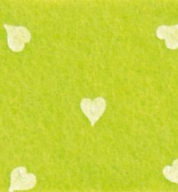 vilt met hartjes lime groen
