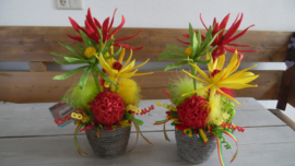 kunstbloem | rood/geel/groen