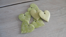 groene stoffen hartjes